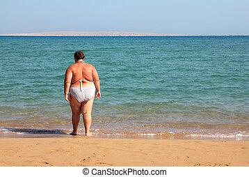 vrouw, overgewicht, bad