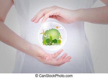 vrouw, overhandigt, lichaam, houden, eco, vriendelijk, aarde, binnen, bellen