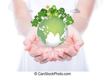vrouw, overhandigt, lichaam, houden, eco, vriendelijk, aarde