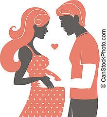 vrouw, paar., echtgenoot, zwangere , haar, silhouette