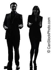 vrouw, paar, handel man silhouette