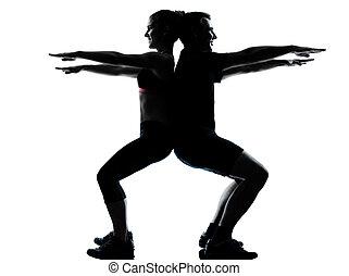 vrouw, paar, het uitoefenen, een, fitness, workout, man