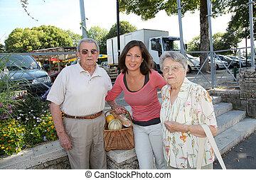 vrouw, paar, jonge, bejaarden, personen, closeup