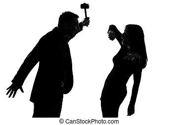 vrouw, paar, violence, huiselijk, een, vasthouden, hamer, man