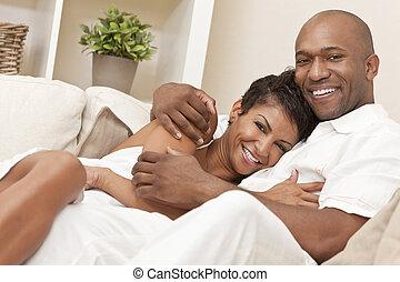 vrouw, paar, vrolijke , amerikaan, afrikaan, romantische
