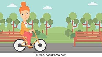 vrouw, paardrijden, bicycle.