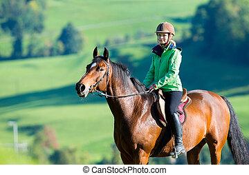 vrouw, paardrijden, een, paarde