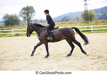 vrouw, paardrijden, op, paarde
