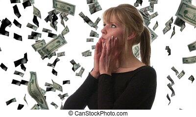 vrouw, pakkend, dollars