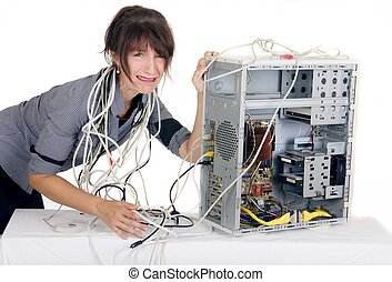 vrouw, paniek, computer