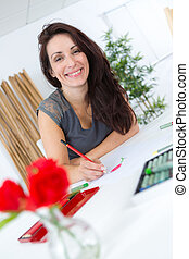 vrouw, papier, tekening