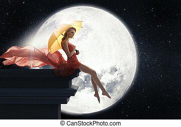 vrouw, paraplu, op, maan, volle, achtergrond