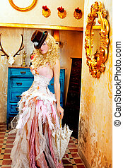 vrouw, paraplu, ouderwetse , mode, blonde , barok