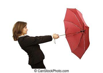 vrouw, paraplu, zakelijk, rood