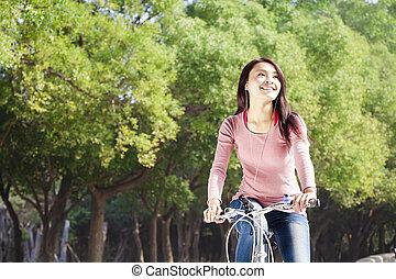 vrouw, park, jonge, fiets, mooi, paardrijden