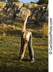 vrouw,  park, Oefening,  Stretching