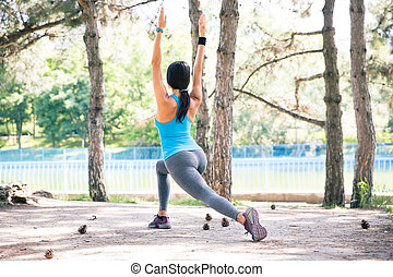 vrouw,  park, Sportief,  Stretching