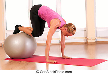 vrouw, passen, jonge, Oefening,  fitness, sportkleding, Bal