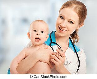 vrouw, patiënt, arts, kinderarts, vasthoudende baby