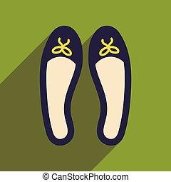 vrouw, pictogram, schaduw, schoentjes, plat, lang