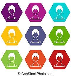 vrouw, pictogram, set, kleur, hexahedron