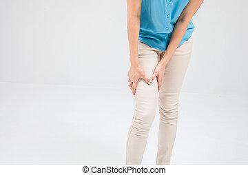 vrouw, pijn, been
