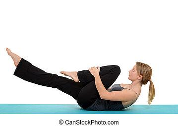 vrouw, pilates, enkel, been, spannen