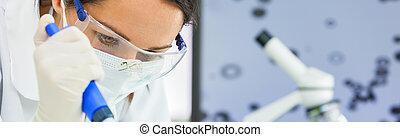 vrouw, pipet, panorama, onderzoek, wetenschapper, vrouwlijk, laboratorium