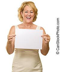vrouw, plakkaat, middelbare leeftijd , vasthouden