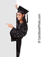 vrouw, plakkaat, vasthouden, afstuderen