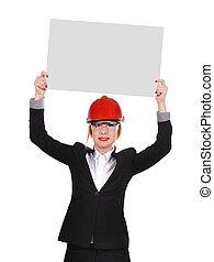 vrouw, plakkaat, vasthouden, ingenieur