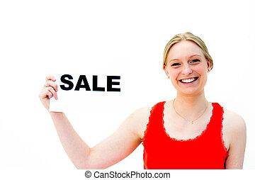 vrouw, plank, verkoop