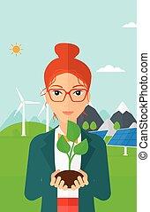 vrouw, plant., vasthouden