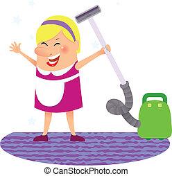vrouw, poetsen