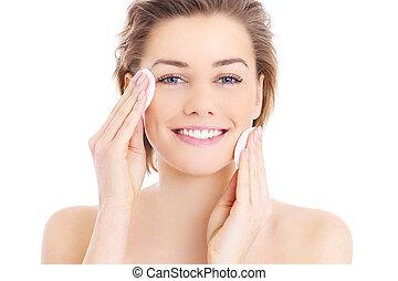 vrouw, poetsen, gezicht