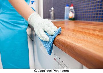 vrouw, poetsen, keuken, countertop