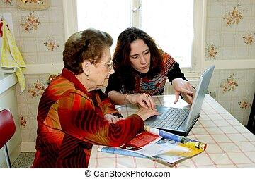vrouw, portie, grootmoeder, met, computer