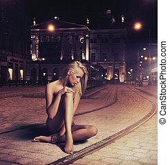 vrouw, pose, jonge, naakt, straat, sensueel