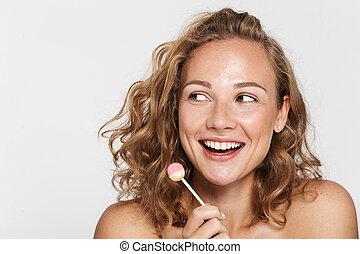 vrouw, positief, lollipop, beeld, vasthouden, half-, het glimlachen