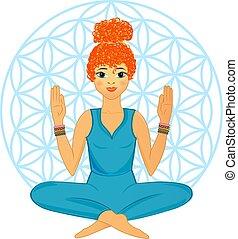 vrouw, praktijk, yoga houding
