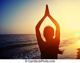 vrouw, praktijk, yoga, jonge
