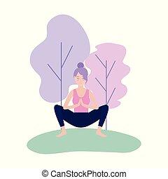 vrouw, praktijk, yoga, meditatie, pose