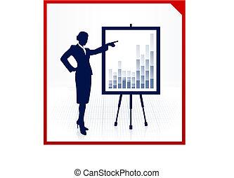 vrouw, presentatie, zakelijk
