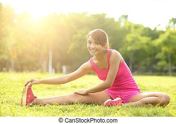 vrouw, presteert, stretching
