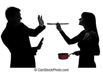 vrouw, proeft, paar, het koken, een, saus pan, man