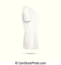 vrouw, realistisch, t-shirt, aanzicht, isolated., bovenkant, illustratie, mal, vector