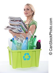 vrouw recyclage
