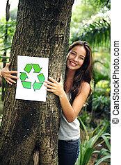 vrouw, recycling:, meldingsbord, bos, vasthouden, hergebruiken