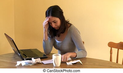 vrouw, rekeningen, haar, moe