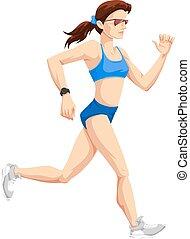 vrouw, rennende , kleur, illustratie